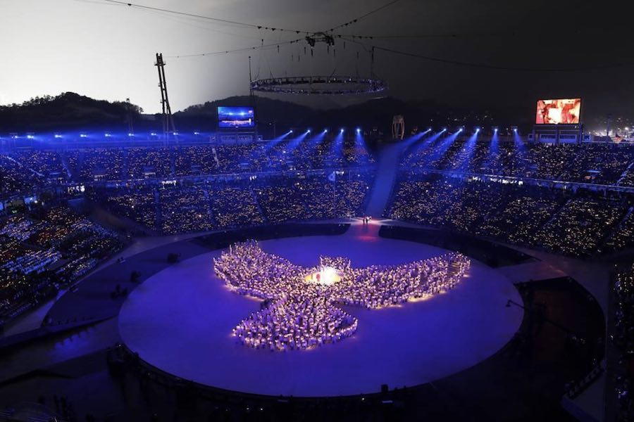 Winter Olympics 2018 opening ceremony with drones show – Photo by @Pyeongchang_2018.